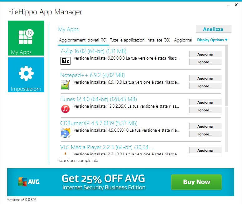 Interfaccia principale di FileHippo App Manager